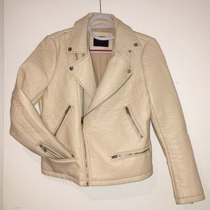 ZARA BASIC cream faux leather biker moto jacket